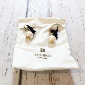 Kate Spade large pearl black bow ball earrings